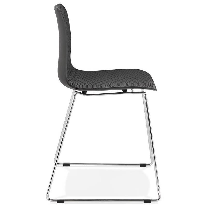 Moderner Stuhl ALIX Fuß verchromt Metall (schwarz) - image 39261