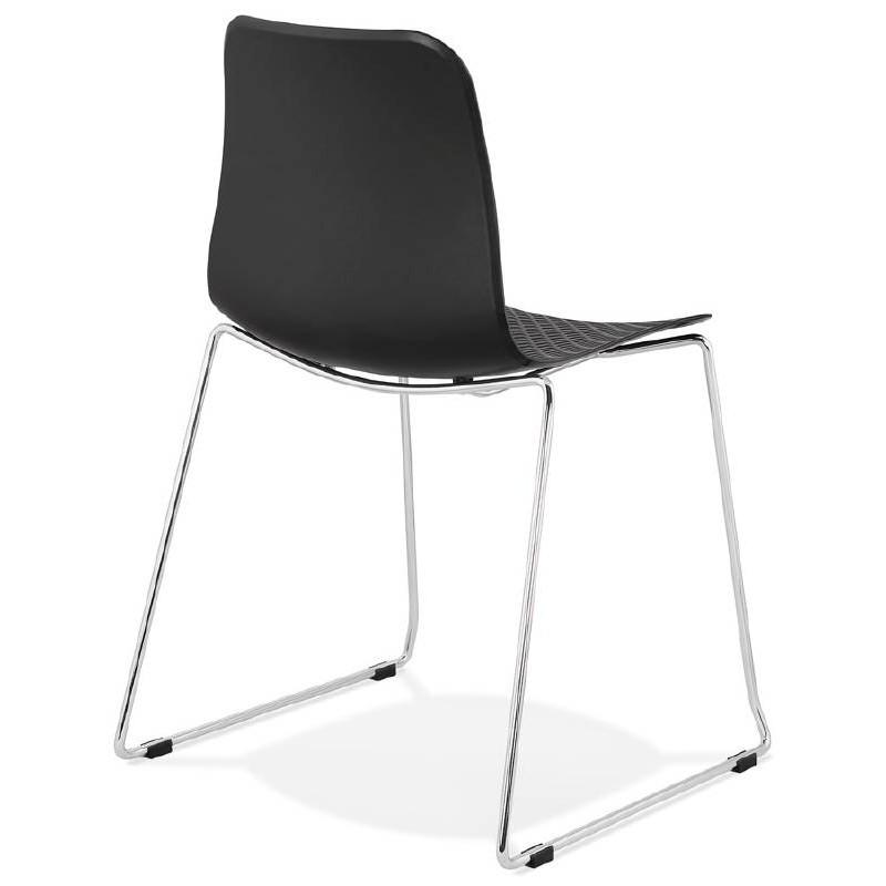 Moderner Stuhl ALIX Fuß verchromt Metall (schwarz) - image 39262
