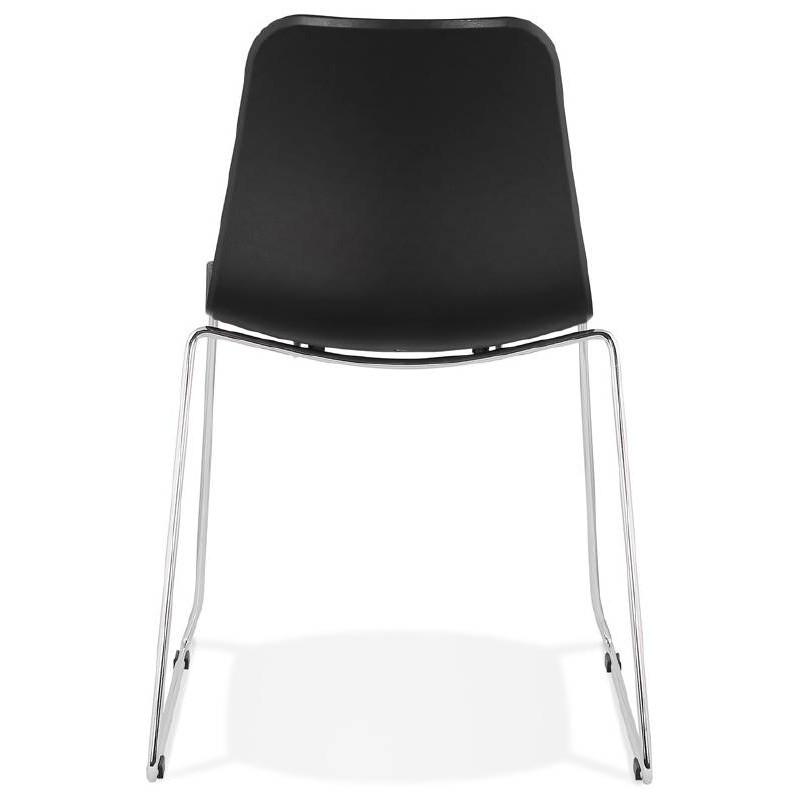 Moderner Stuhl ALIX Fuß verchromt Metall (schwarz) - image 39263