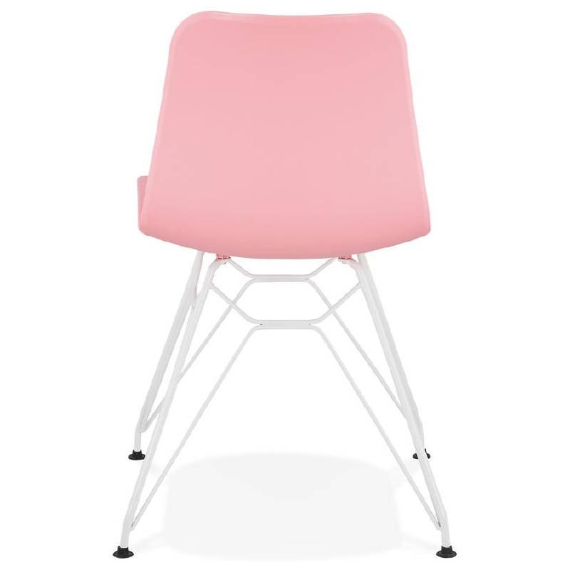 Design and modern Chair in polypropylene feet white metal (Pink) - image 39274