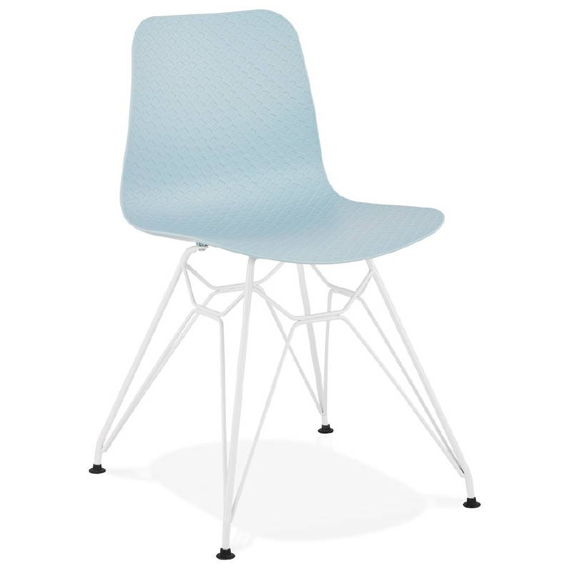 Design and modern Chair in polypropylene feet (blue) white metal - image 39281
