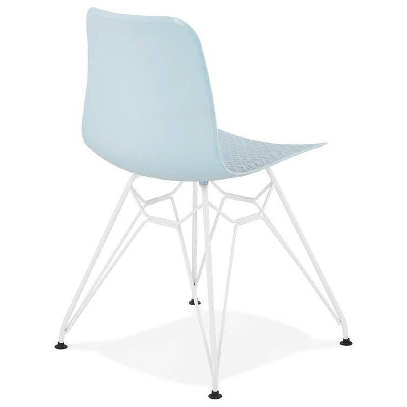Design and modern chair in polypropylene feet blue white metal