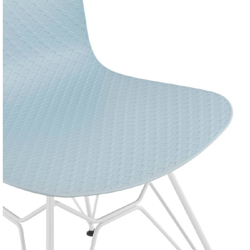Design and modern Chair in polypropylene feet (blue) white metal - image 39287
