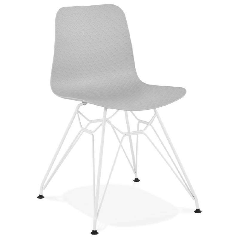 Design and modern Chair in polypropylene feet white metal (light gray)