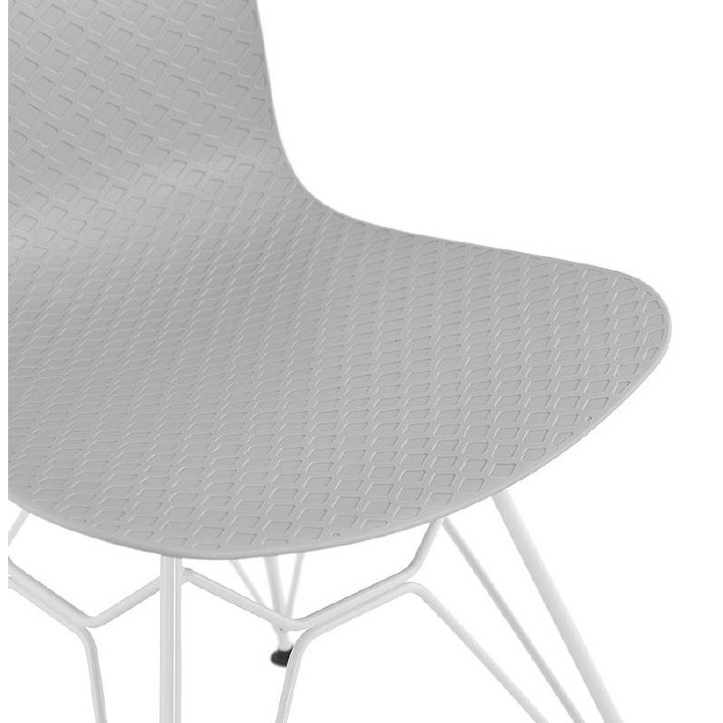 Design and modern Chair in polypropylene feet white metal (light gray) - image 39299