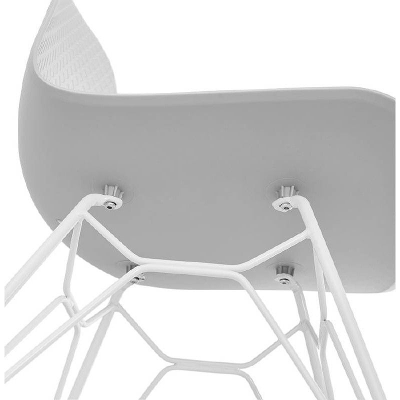Design and modern Chair in polypropylene feet white metal (light gray) - image 39301