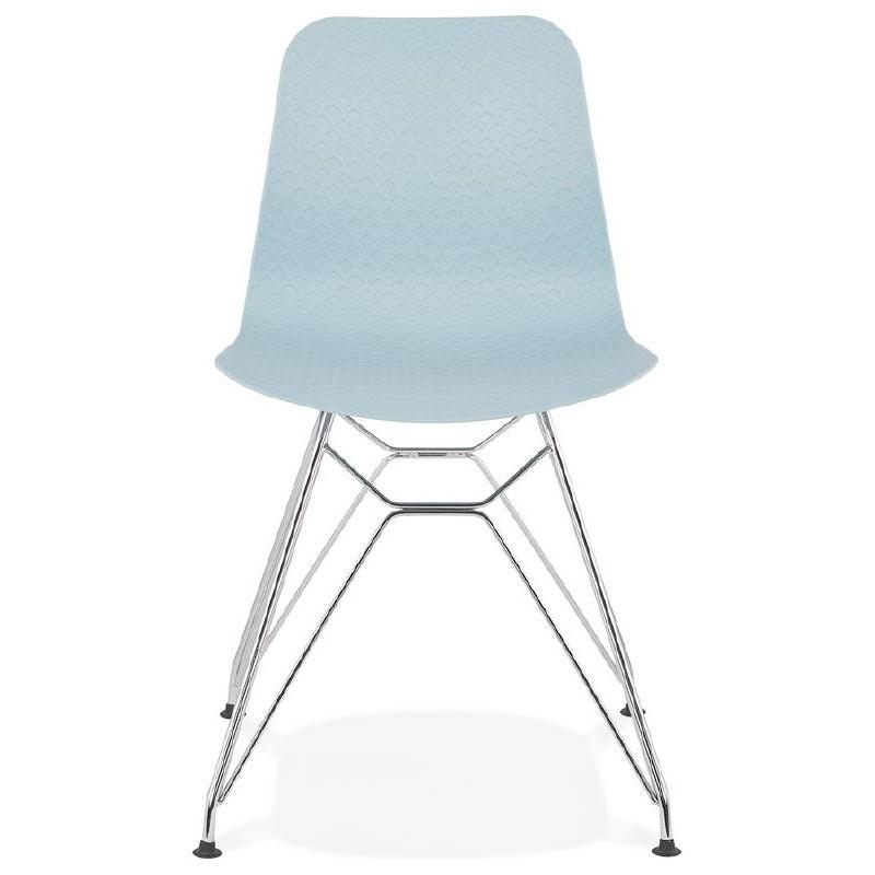 Design und industrielle Stuhl aus Polypropylen (himmelblau) verchromte Metallbeine - image 39318