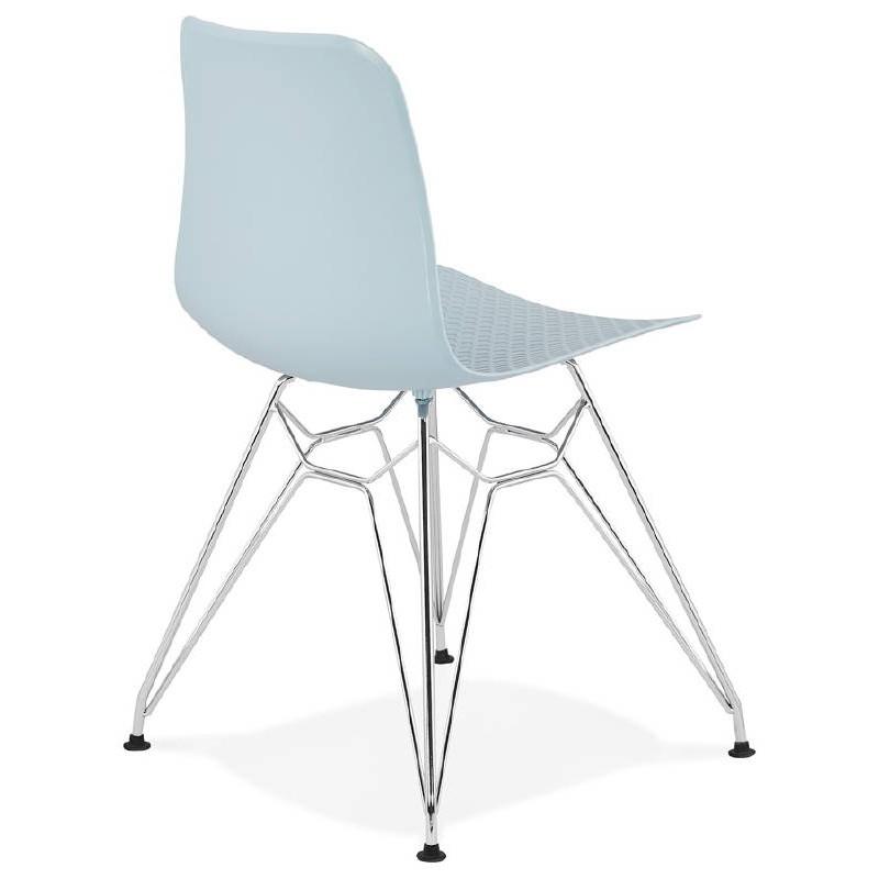 Design und industrielle Stuhl aus Polypropylen (himmelblau) verchromte Metallbeine - image 39320