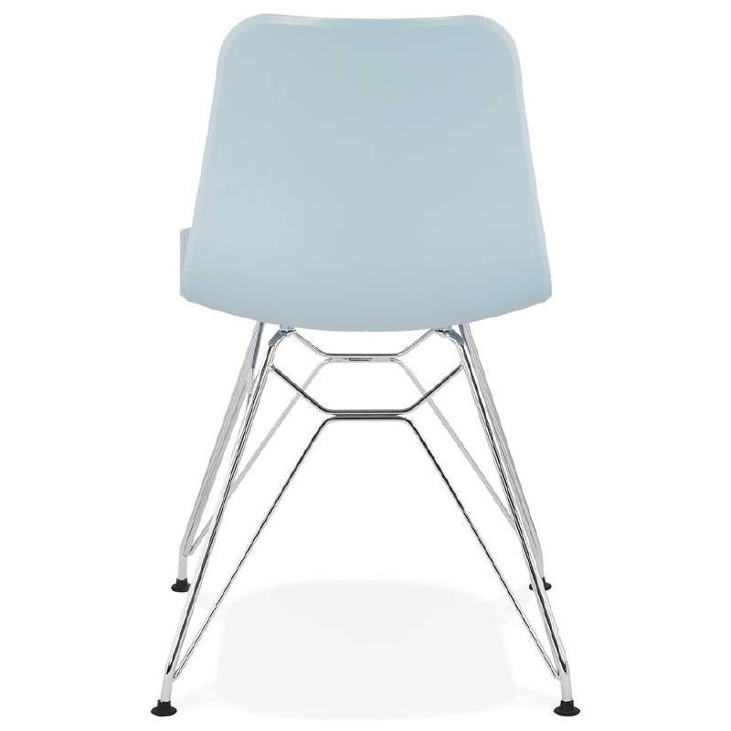 Design und industrielle Stuhl aus Polypropylen (himmelblau) verchromte Metallbeine - image 39321