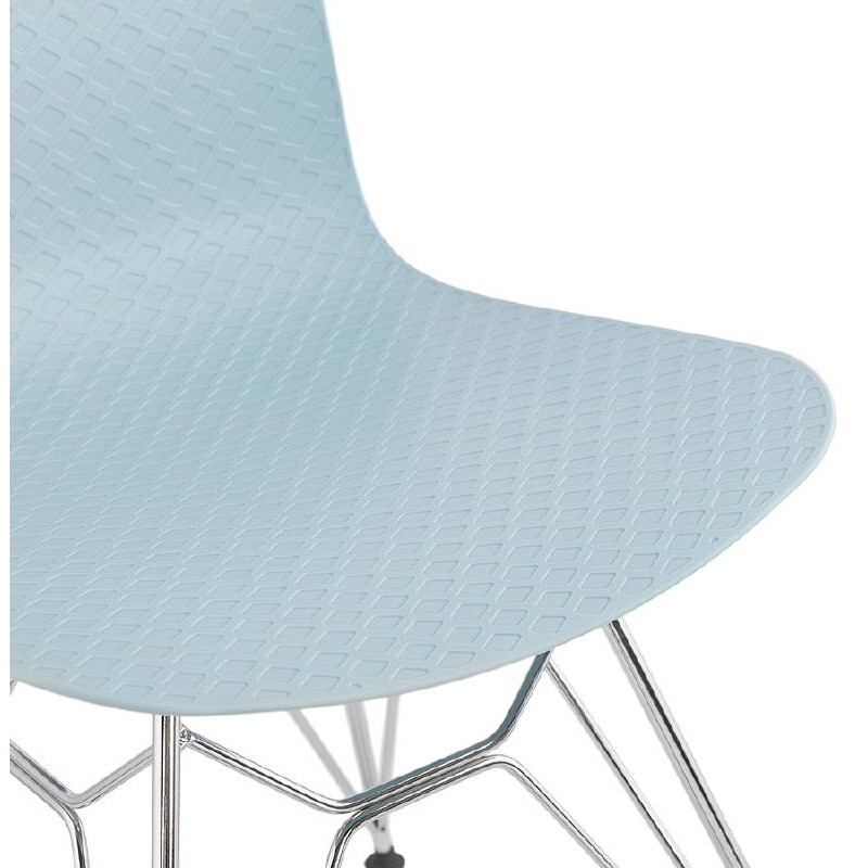 Design und industrielle Stuhl aus Polypropylen (himmelblau) verchromte Metallbeine - image 39323