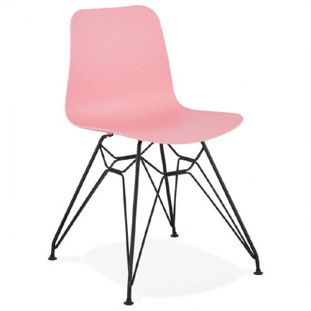 Design and industrial chair VENUS feet black metal (Pink)