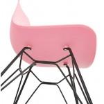 Chaise design et industrielle VENUS pieds métal noir (rose)