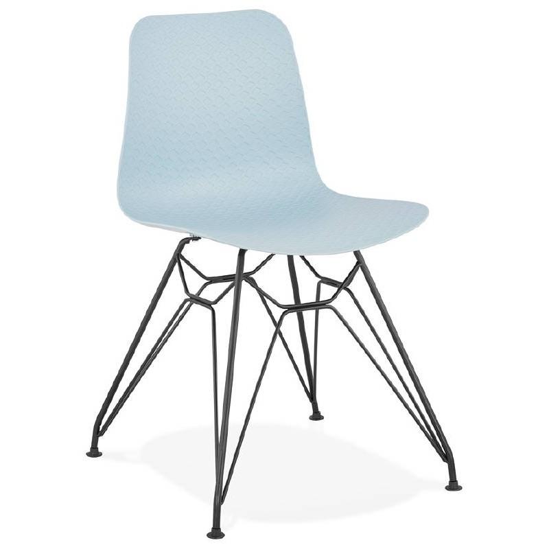 Design and industrial chair VENUS feet (sky blue) black metal - image 39356