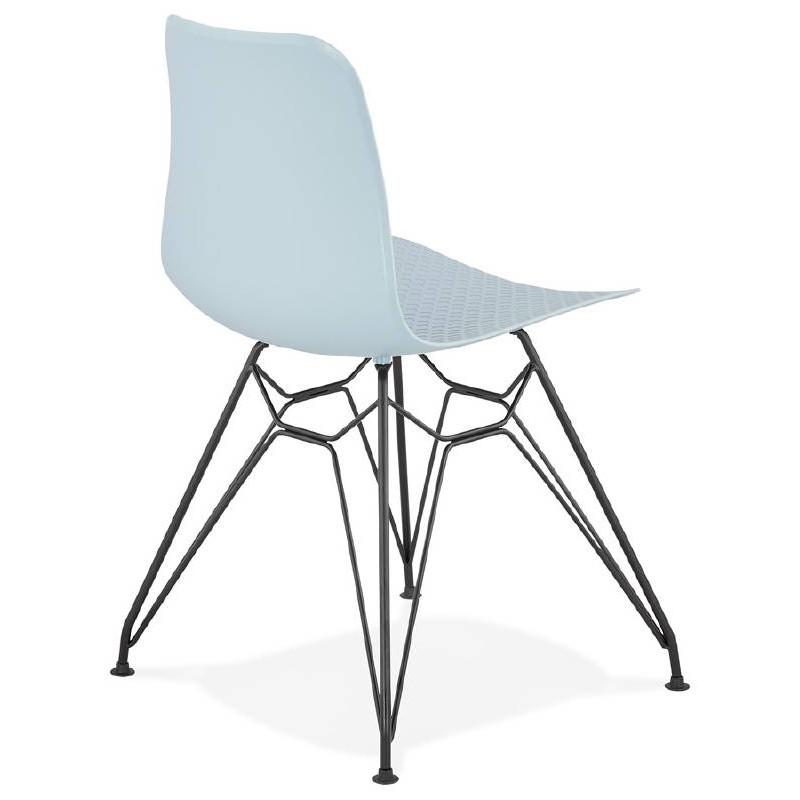 Design and industrial chair VENUS feet (sky blue) black metal - image 39359