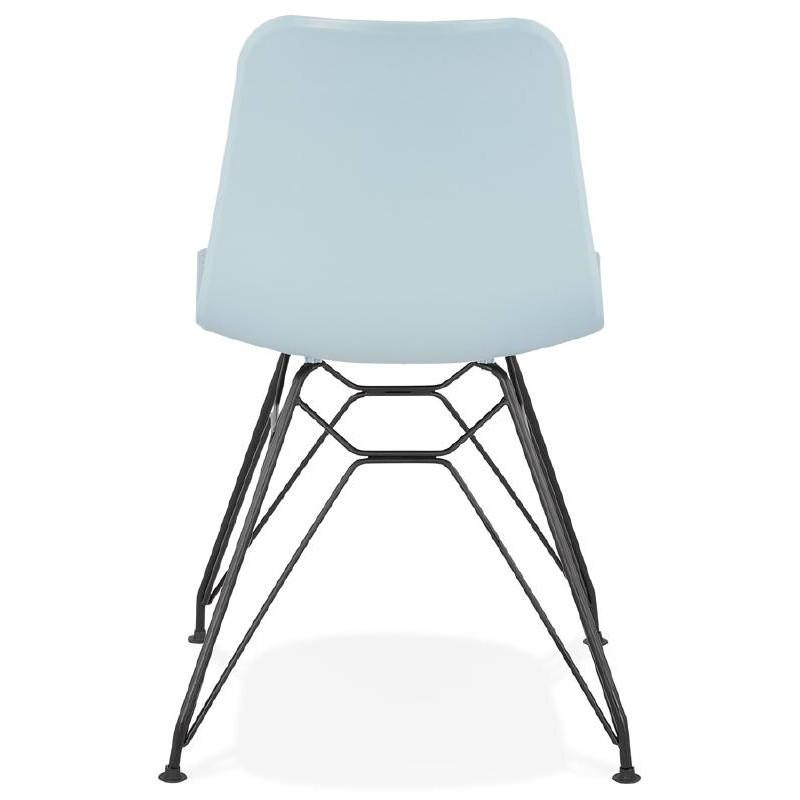 Design and industrial chair VENUS feet (sky blue) black metal - image 39360