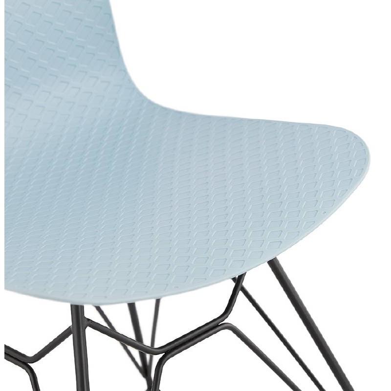 Design and industrial chair VENUS feet (sky blue) black metal - image 39362