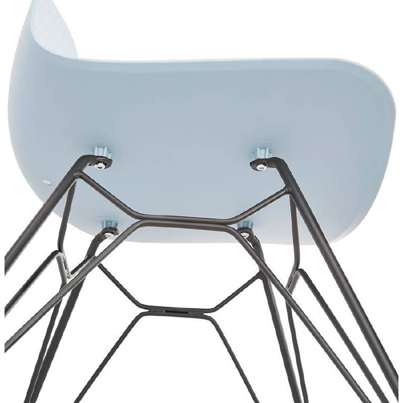 Design and industrial chair VENUS feet (sky blue) black metal - image 39364