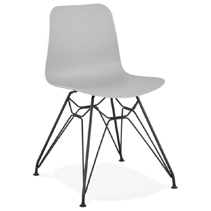 Chaise design et industrielle VENUS pieds métal noir (gris clair)