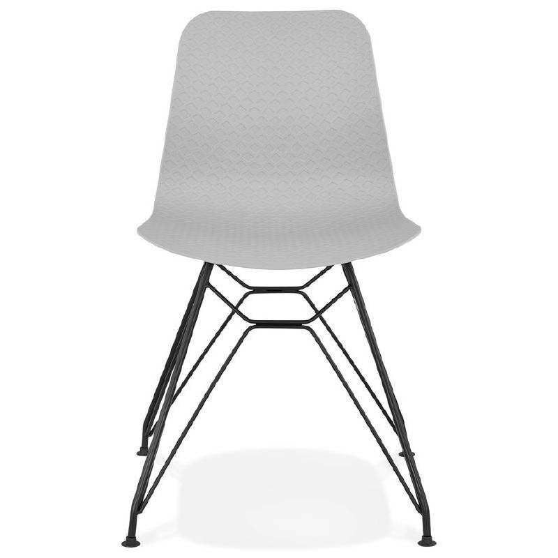 Chaise design et industrielle VENUS pieds métal noir (gris clair) - image 39370