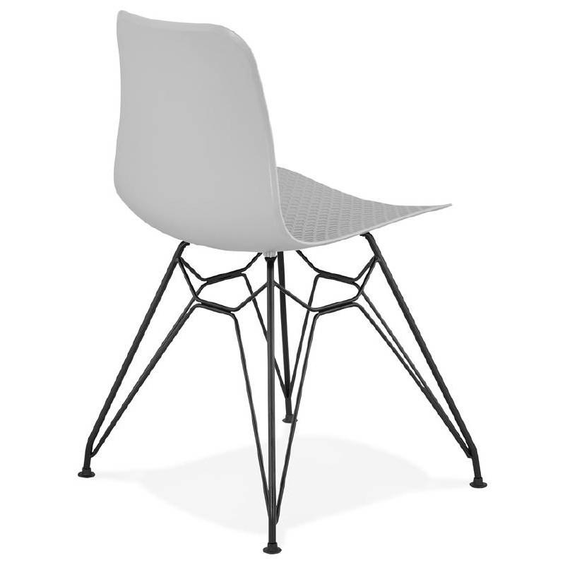 Chaise design et industrielle VENUS pieds métal noir (gris clair) - image 39372