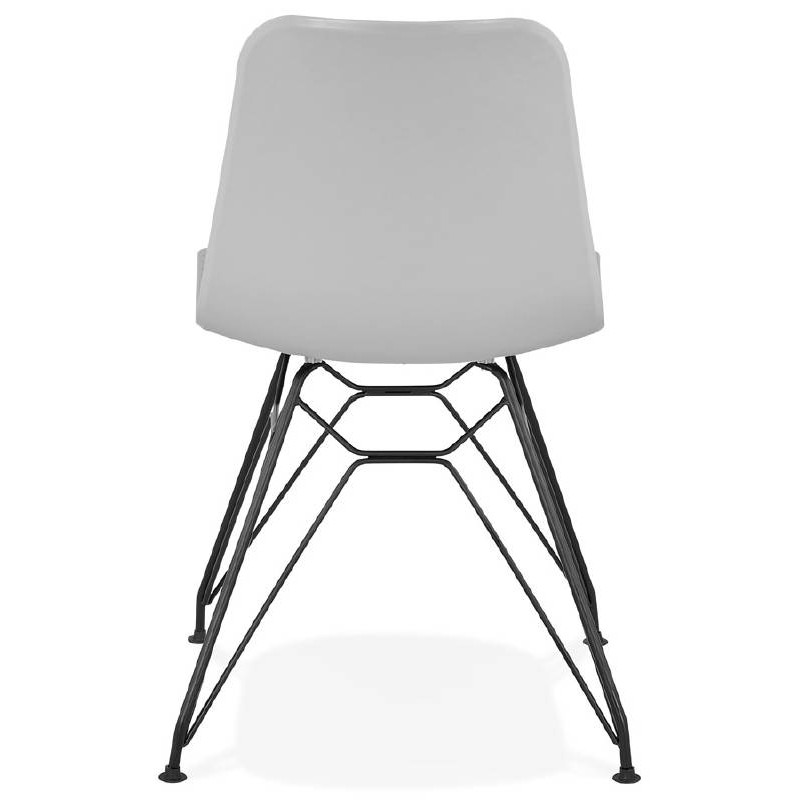 Chaise design et industrielle VENUS pieds métal noir (gris clair) - image 39373