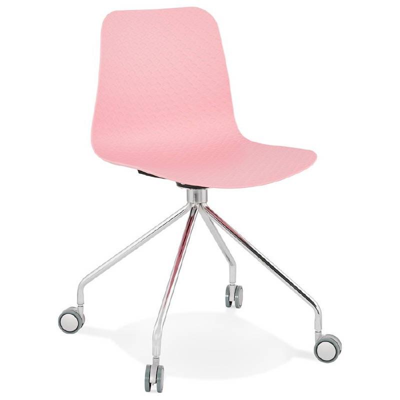 Chaise de bureau sur roulettes JANICE en polypropylène pieds métal chromé (rose) - image 39382