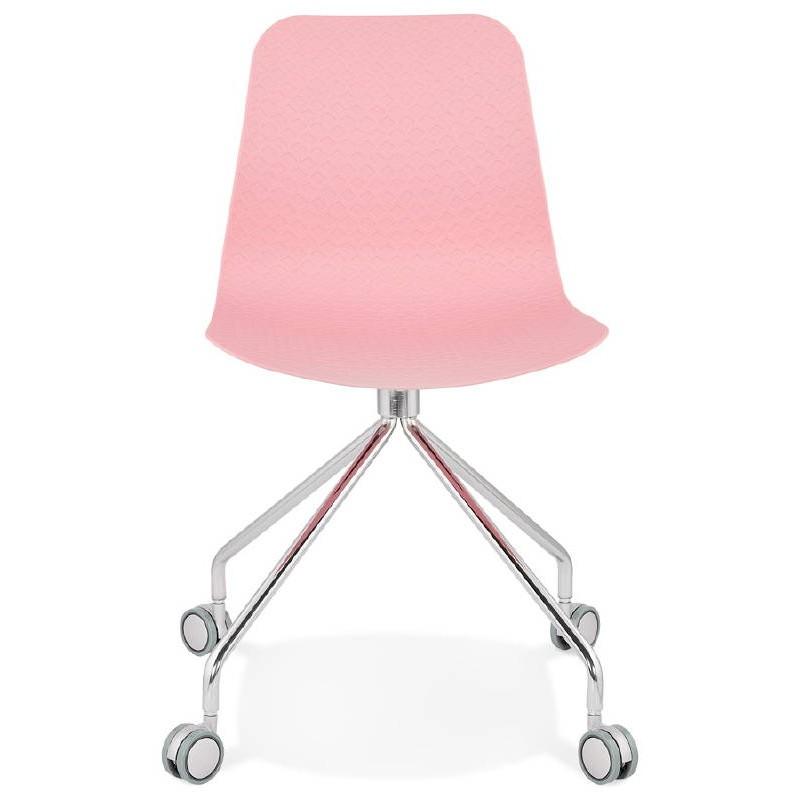 Chaise de bureau sur roulettes JANICE en polypropylène pieds métal chromé (rose) - image 39383