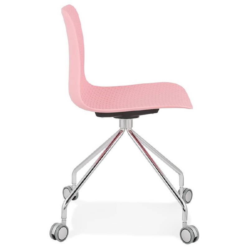 Chaise de bureau sur roulettes JANICE en polypropylène pieds métal chromé (rose) - image 39384