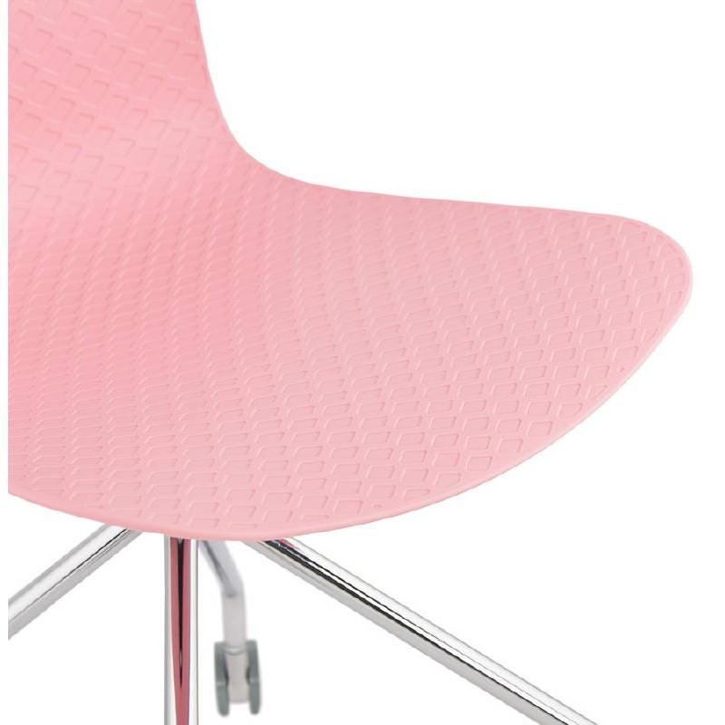 Chaise de bureau sur roulettes JANICE en polypropylène pieds métal chromé (rose) - image 39388