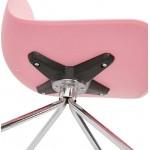 Chaise de bureau sur roulettes JANICE en polypropylène pieds métal chromé (rose)