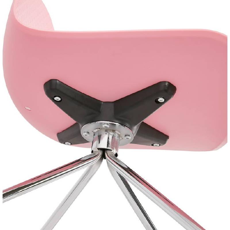 Chaise de bureau sur roulettes JANICE en polypropylène pieds métal chromé (rose) - image 39391