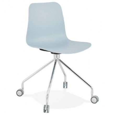 Chaise de bureau sur roulettes JANICE en polypropylène pieds métal chromé (bleu ciel)