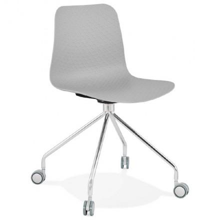 Chaise de bureau sur roulettes JANICE en polypropylène pieds métal chromé (gris clair)