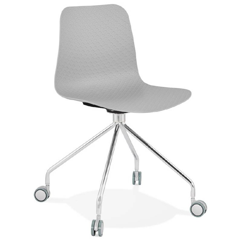 Office Chair on wheels JANICE polypropylene feet chrome metal (light gray) - image 39407