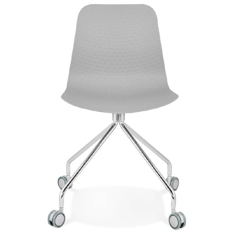Office Chair on wheels JANICE polypropylene feet chrome metal (light gray) - image 39408