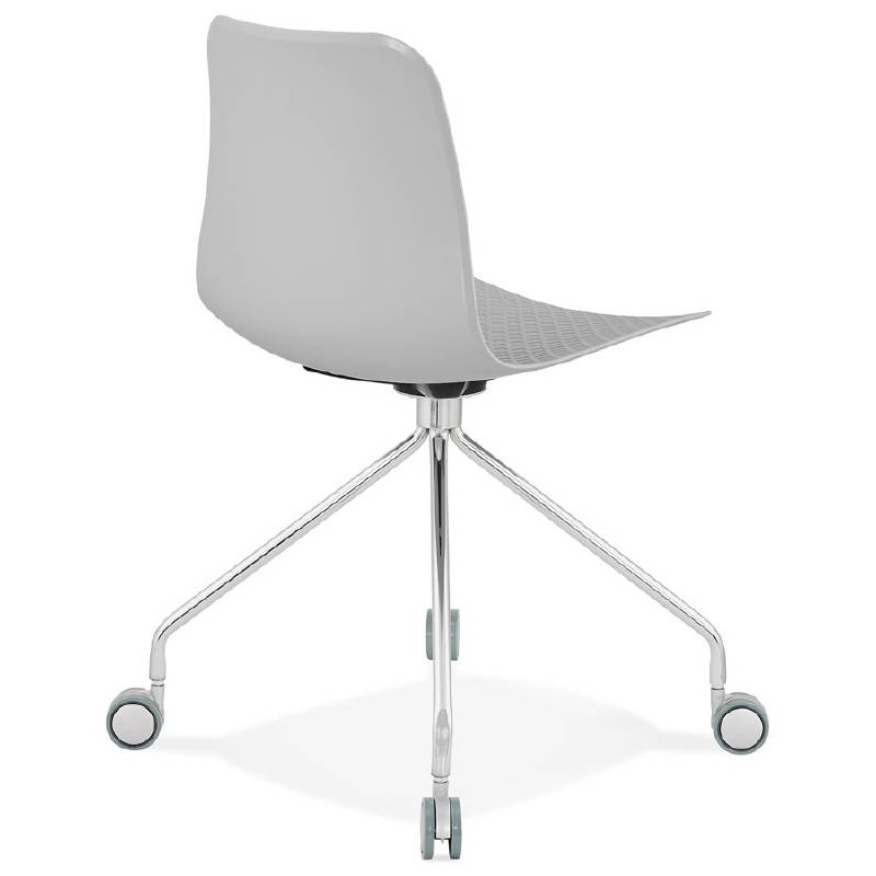 Office Chair on wheels JANICE polypropylene feet chrome metal (light gray) - image 39410