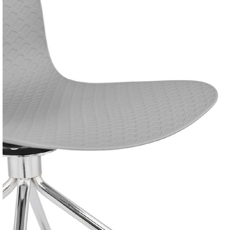 Office Chair on wheels JANICE polypropylene feet chrome metal (light gray) - image 39413