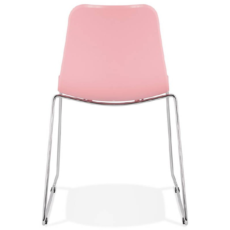 Modern Chair ALIX foot chromed metal (Pink) - image 39424