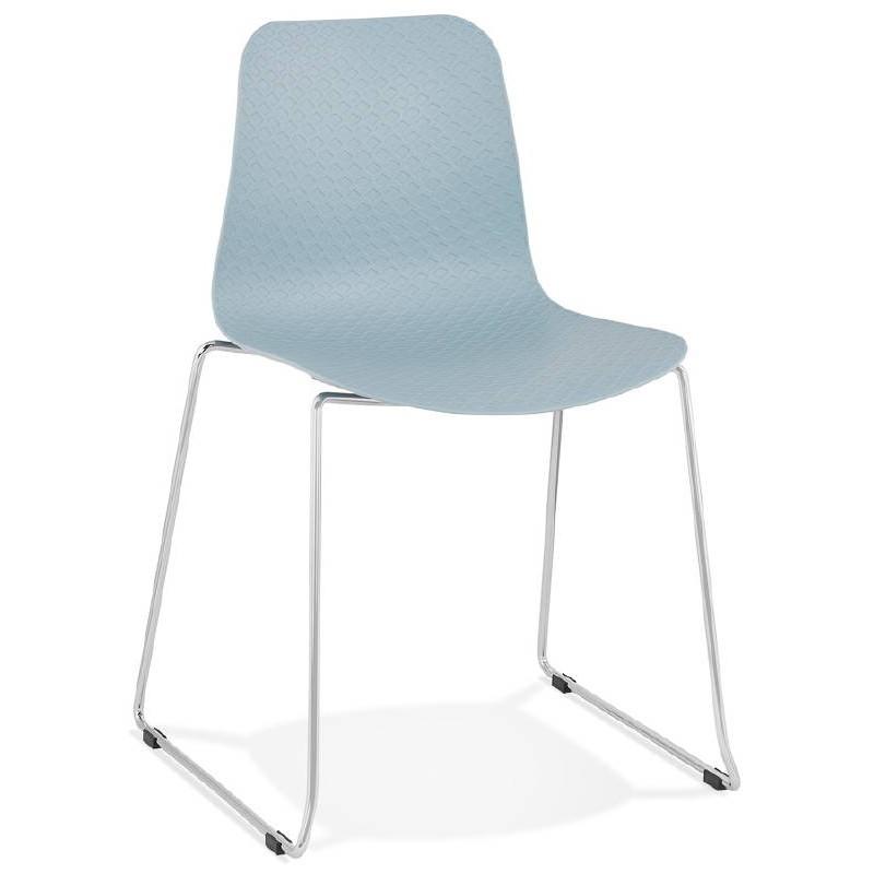 Chaise moderne empilable ALIX pieds métal chromé (bleu ciel)