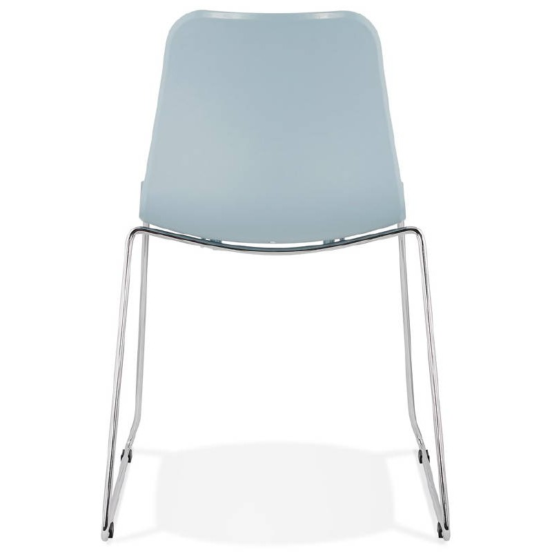 Chaise moderne empilable ALIX pieds métal chromé (bleu ciel) - image 39435