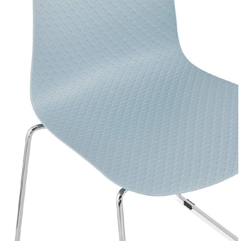 Chaise moderne empilable ALIX pieds métal chromé (bleu ciel) - image 39436