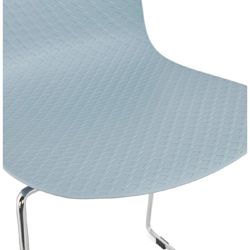 Chaise moderne empilable ALIX pieds métal chromé (bleu ciel) - image 39437