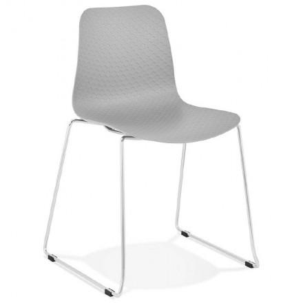 Chaise moderne empilable ALIX pieds métal chromé (gris clair)