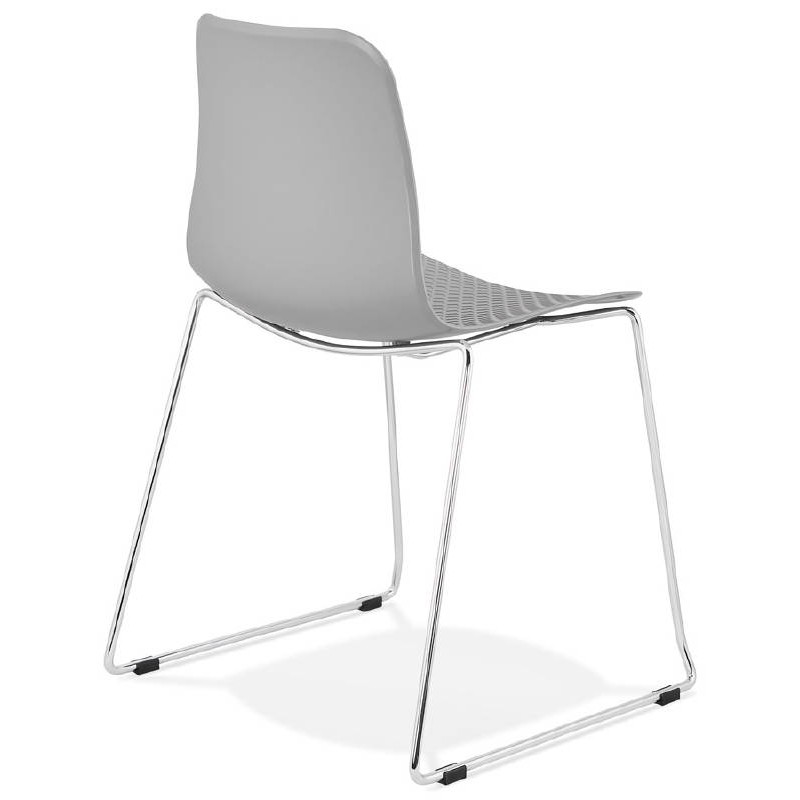 Modern Chair ALIX foot chromed metal (light gray) - image 39446
