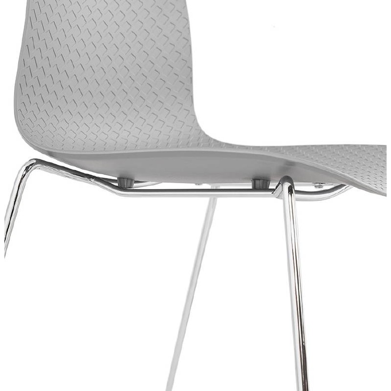 Modern Chair ALIX foot chromed metal (light gray) - image 39450