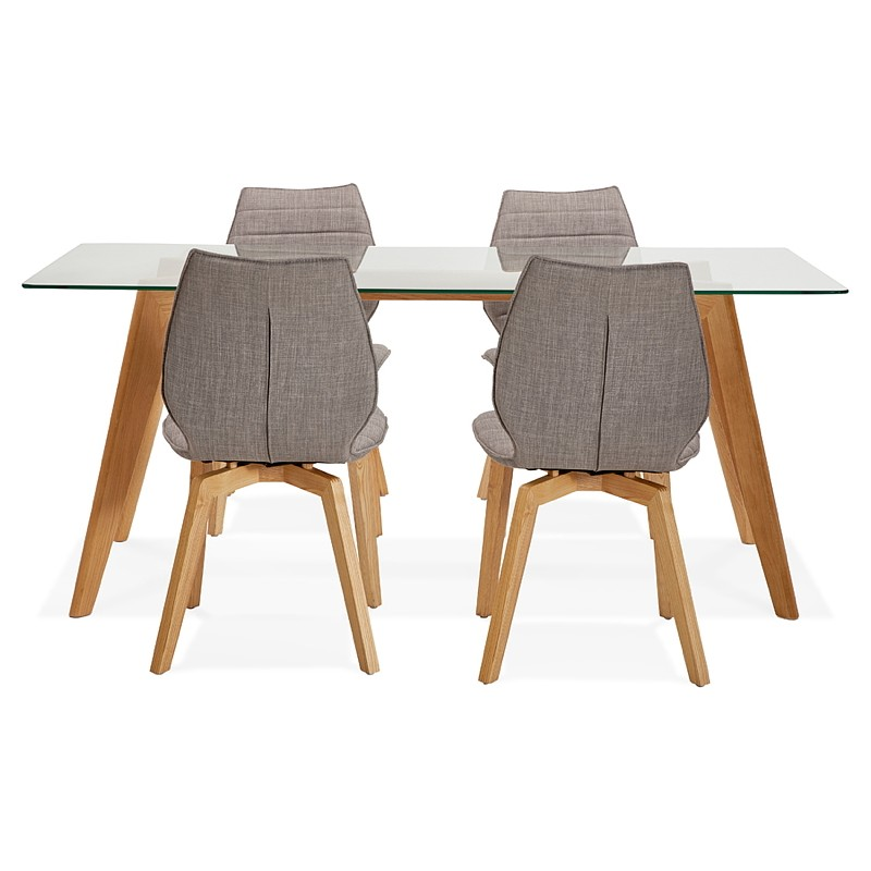 Table à manger design scandinave APOLINE en verre (90x180x75cm) (transparent) - image 39580