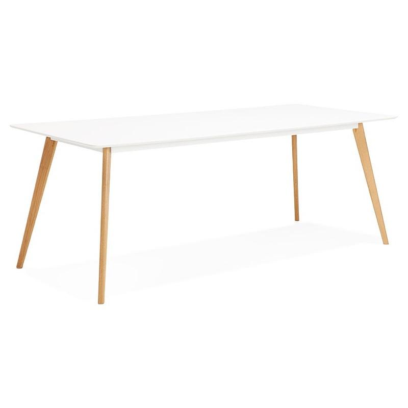 Table à manger design scandinave CLEMENTINE en bois (200x90x75 cm) (blanc) - image 39587