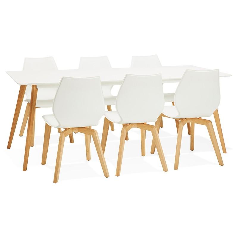 Table à manger design scandinave CLEMENTINE en bois (200x90x75 cm) (blanc) - image 39595