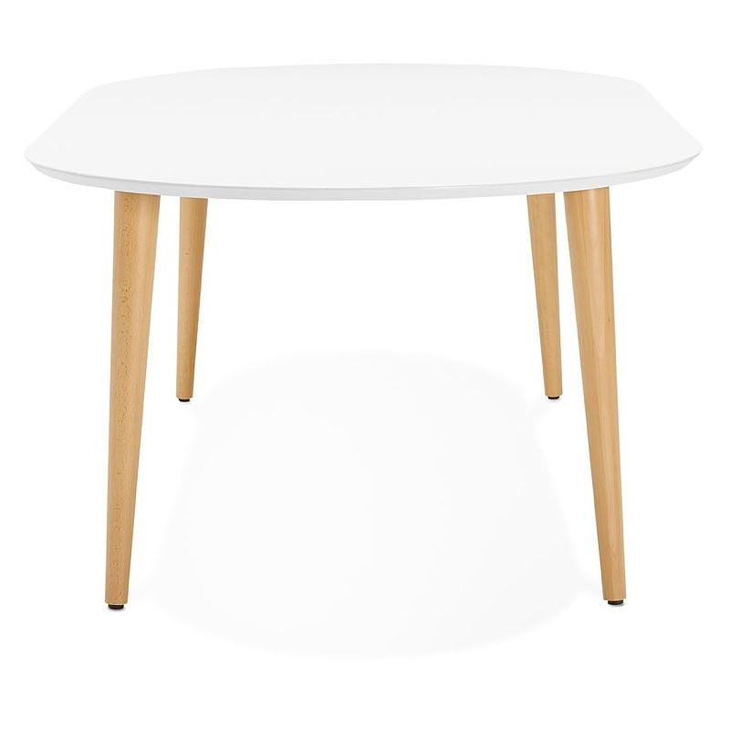 table manger ronde scandinave rallonges 120 cm olivia en bois 120 220x120x75 cm blanc. Black Bedroom Furniture Sets. Home Design Ideas