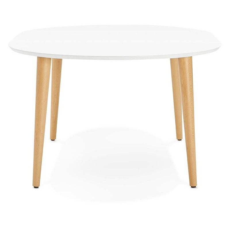 Round dining table Scandinavian to extensions (Ø 120 cm) OLIVIA (120-220 x 120 x 75 cm) wooden (matte white) - image 39605